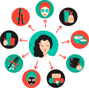 Spa beauty face care wellness icons set with massage therapist avatar vector illustrationのイラスト素材 [FYI03066744]
