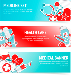 Three horizontal health care banners with medical emblems and emergency first aid kit symbols abstraのイラスト素材 [FYI03066745]