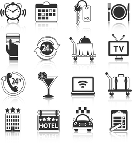 Hotel travel accommodation black pictograms set of room breakfast service alarm and 24h reception isのイラスト素材 [FYI03066746]