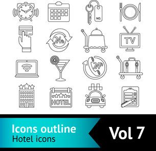 Hotel travel bed  outline icons set of cocktail bar restaurant service and taxi parking isolated vecのイラスト素材 [FYI03066747]