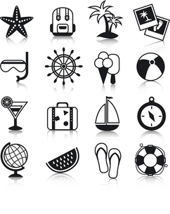 Summer holiday vacation travel agency palm cocktail snorkel mask suitcase baggage pictograms collectのイラスト素材 [FYI03066750]