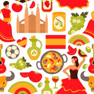 Spain culture flamenco dance bullfight vine tapas symbols seamless decorative souvenir wrap paper paのイラスト素材 [FYI03066751]