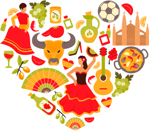 Decorative spain cultural traditions flamenco dance food grape vine emblems heart shape print posterのイラスト素材 [FYI03066752]
