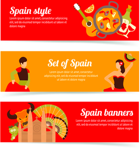 Spain travel spanish style culture wine flamenco banners set isolated vector illustrationのイラスト素材 [FYI03066753]