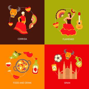 Spain culture symbols corrida bullfight and paella food vine sangria travel icons composition set flのイラスト素材 [FYI03066754]