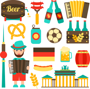 Germany travel tourist attractions food and beer icons set isolated vector illustrationのイラスト素材 [FYI03066760]