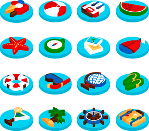 Holiday summer vacation  travel and tourism isometric set isolated vector illustrationのイラスト素材 [FYI03066761]