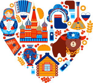Russia travel heart set with traditional national elements icons set vector illustrationのイラスト素材 [FYI03066763]
