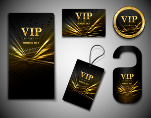Vip members only premium golden exclusive cards set isolated vector illustrationのイラスト素材 [FYI03066770]