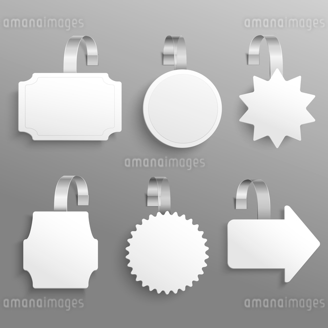 White advertising sale hanging wobbler set isolated vector illustrationのイラスト素材 [FYI03066771]