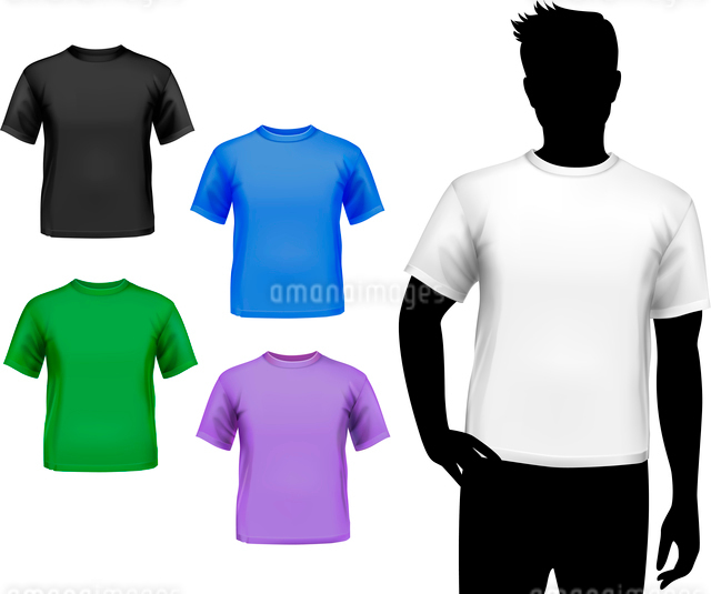 Colored round neck t-shirts male set with man silhouette isolated vector illustrationのイラスト素材 [FYI03066774]