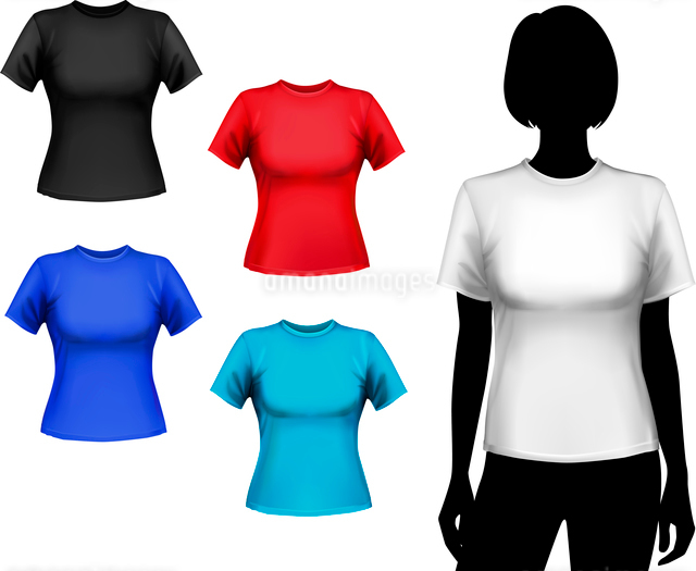 Colored round neck t-shirts female set with woman silhouette isolated vector illustrationのイラスト素材 [FYI03066775]