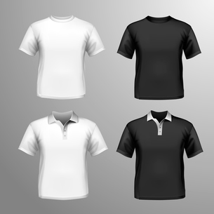Black and white round neck and polo t-shirts male set isolated vector illustrationのイラスト素材 [FYI03066778]