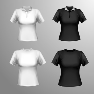 Black and white round neck and polo short sleeve t-shirts female set isolated vector illustrationのイラスト素材 [FYI03066779]