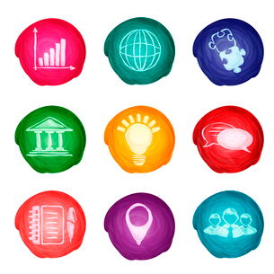 Watercolor round business icons set of chart puzzle globe isolated vector illustration.のイラスト素材 [FYI03066783]
