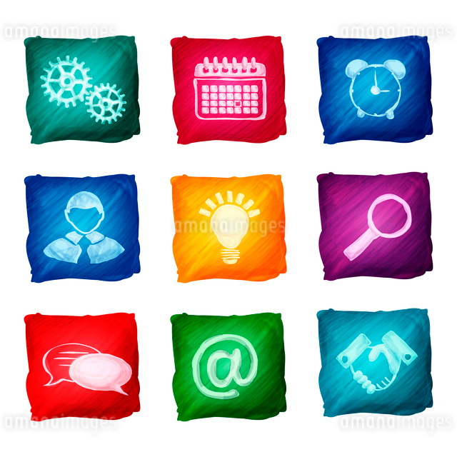 Watercolor business icons set of handshake lightbulb alarm clock isolated vector illustration.のイラスト素材 [FYI03066784]