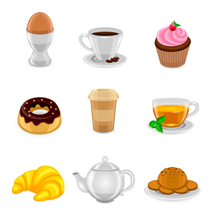 Breakfast food and drink icon set with egg coffee cup cake and croissant isolated vector illustratioのイラスト素材 [FYI03066805]