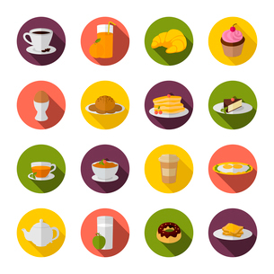 Breakfast food and drink icon with tea coffee croissant and sandwich flat set vector illustrationのイラスト素材 [FYI03066807]