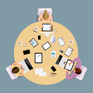 Brainstorming business communication concept top view group people on table vector illustrationのイラスト素材 [FYI03066808]
