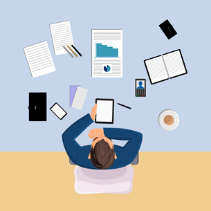 Office worker on table with papers top view vector illustrationのイラスト素材 [FYI03066810]