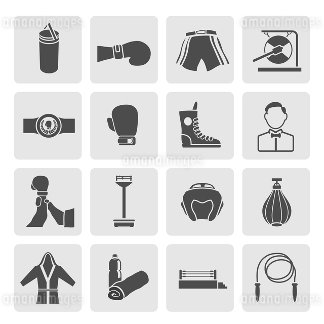 Set of boxing winner referee equipment weights icons in gray color on grey squares vector illustratiのイラスト素材 [FYI03066821]