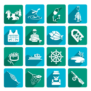 Set of fish fisher hobby leisure white icons on blue and green squares isolated on white vector illuのイラスト素材 [FYI03066824]