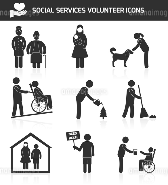 Social responsibility services and volunteer icons set black isolated vector illustrationのイラスト素材 [FYI03066825]