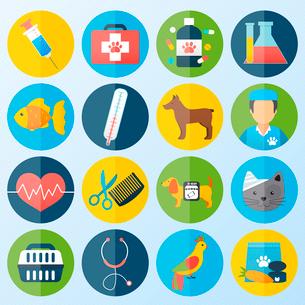Veterinary pet health care animal medicine icons set isolated vector illustrationのイラスト素材 [FYI03066828]