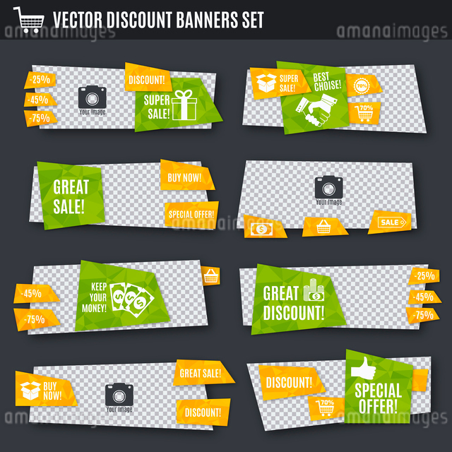 Discount great sale special offer paper banners set isolated vector illustrationのイラスト素材 [FYI03066831]