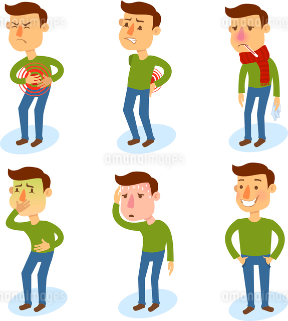 Sick characters set of people with pain and diseases isolated vector illustration.のイラスト素材 [FYI03066833]