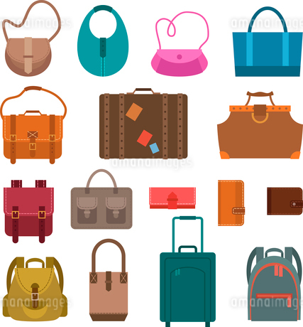 Women fashion and luggage bags colored icons set isolated vector illustration.のイラスト素材 [FYI03066835]