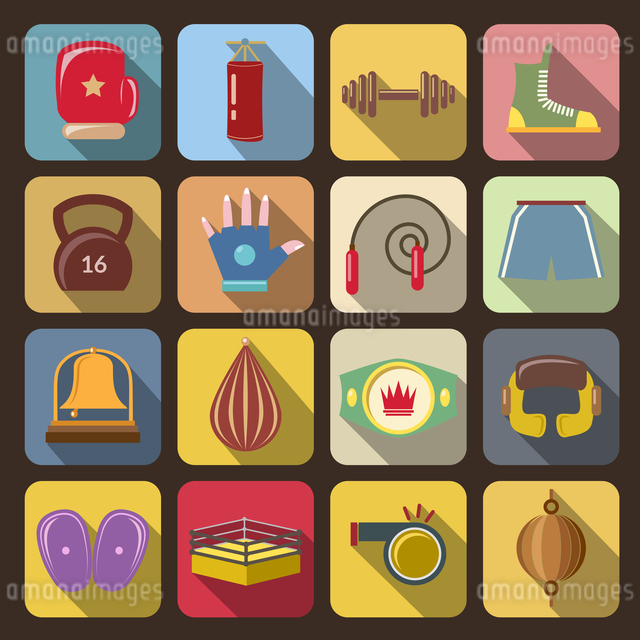 Box fight icons set with gloves belt gong isolated vector illustrationのイラスト素材 [FYI03066843]