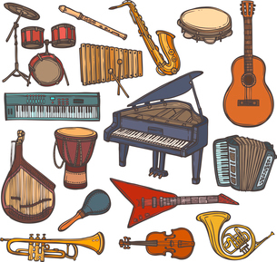 Musical instruments sketch colored icon set with flute trumpet xylophone isolated vector illustratioのイラスト素材 [FYI03066844]