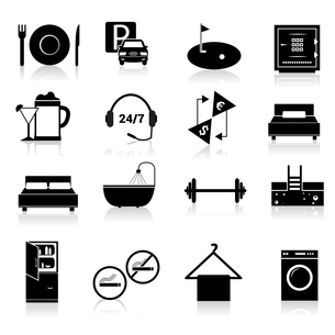 Hotel amenities and room service icons of alcohol fridge laundry and towel black set isolated vectorのイラスト素材 [FYI03066846]