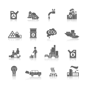 Thermal air and water toxic chemicals power plants hazardous pollution black abstract icons set isolのイラスト素材 [FYI03066852]