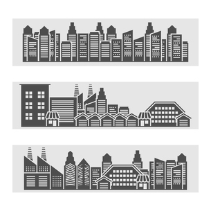 Decorative horizontal banners of modern city residential area cityscape and downtown edifice skylineのイラスト素材 [FYI03066871]