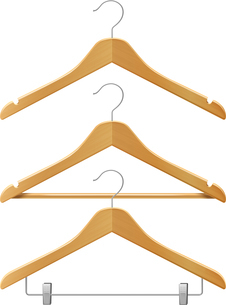 Clothes wooden hangers set for jackets pants isolated 3d vector illustrationのイラスト素材 [FYI03066874]