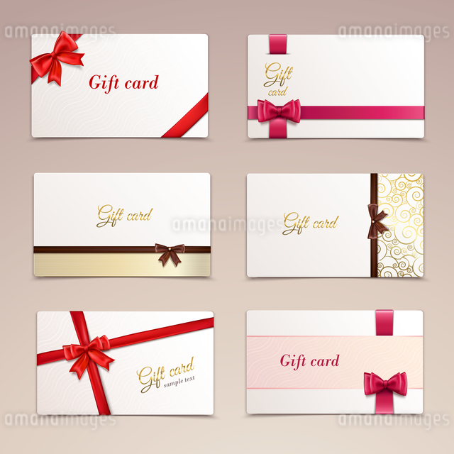 Gift cardboard paper cards set with red bows and ribbons vector illustrationのイラスト素材 [FYI03066882]