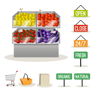 Supermarket fruits and vegetables set and shopping signs isolated vector illustrationのイラスト素材 [FYI03066897]