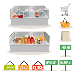 Supermarket meat and fish set and shopping signs isolated vector illustrationのイラスト素材 [FYI03066898]