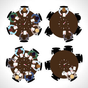 Business people workday on table top view isolated vector illustrationのイラスト素材 [FYI03066900]