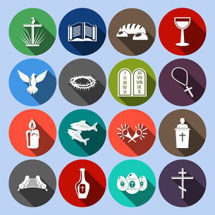 Christianity traditional religious symbols flat icons set with cross bible goblet isolated vector ilのイラスト素材 [FYI03066902]