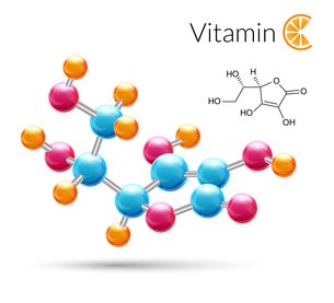 Vitamin C 3d molecule chemical science atomic structure poster vector illustration.のイラスト素材 [FYI03066903]