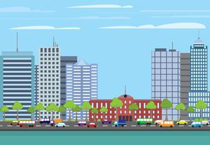Modern urban building on street cityscape skyline vector illustrationのイラスト素材 [FYI03066904]
