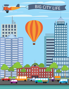 Modern urban building big city life poster with balloon vector illustrationのイラスト素材 [FYI03066905]