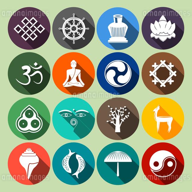 Buddhism yoga oriental traditional spiritual indian symbols icons flat set isolated vector illustratのイラスト素材 [FYI03066906]