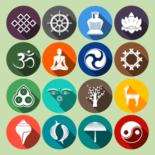Buddhism yoga oriental traditional spiritual indian symbols icons flat set isolated vector illustratのイラスト素材 [FYI03066906]