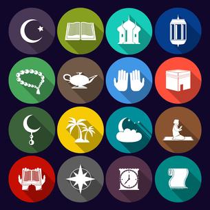 Islamic church muslim arabic spiritual traditional symbols flat icons set isolated vector illustratiのイラスト素材 [FYI03066908]