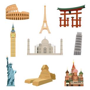 World famous landmarks set of eiffel tower statue of liberty taj mahal isolated vector illustrationのイラスト素材 [FYI03066911]