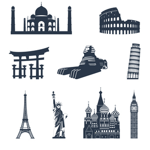 World famous landmarks black icons set of sphinx pisa tower colosseum isolated vector illustrationのイラスト素材 [FYI03066913]
